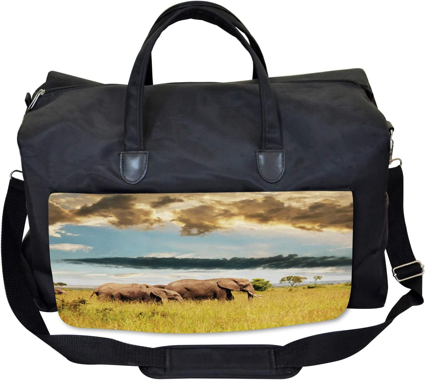 Ambesonne African Gym Bag Elephant Family Photo Large Weekender Carry-on