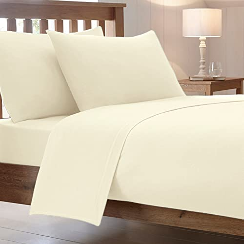 Cotton Works Luxury Combed Poly Cotton Plain Fitted Bed Sheet,  White - Double