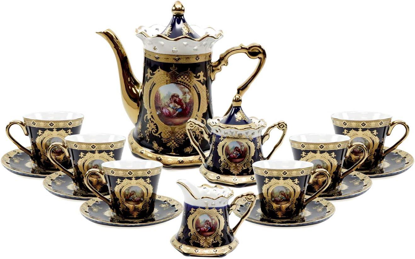 Royalty Porcelain 17pc Cobalt Blue Tea set 'Second Date' Flower Print Tableware