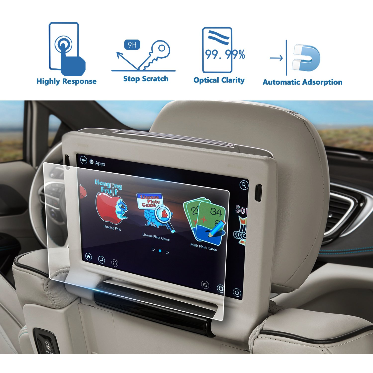 2PCS LFOTPP Rear Seat TV Glass Screen Protector for 2018 Chrysler Pacifica 10 Inch, Back Seat Entertainment/Headrest TV Screen Protector [9H] Anti Scratch
