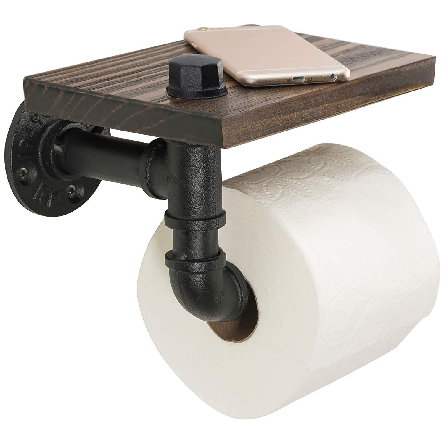 BelVIST Industrial Pipe Toilet Paper Holder with Rustic Wooden Shelf Metal Wall Storage Iron Pipe Roll Hanger for Bathroom, Washroom by BelVIST