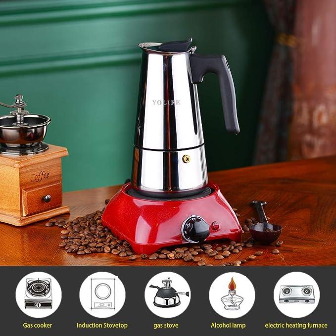 Amazon.com: Yolife - 6 tazas para cafetera de moka, acero ...