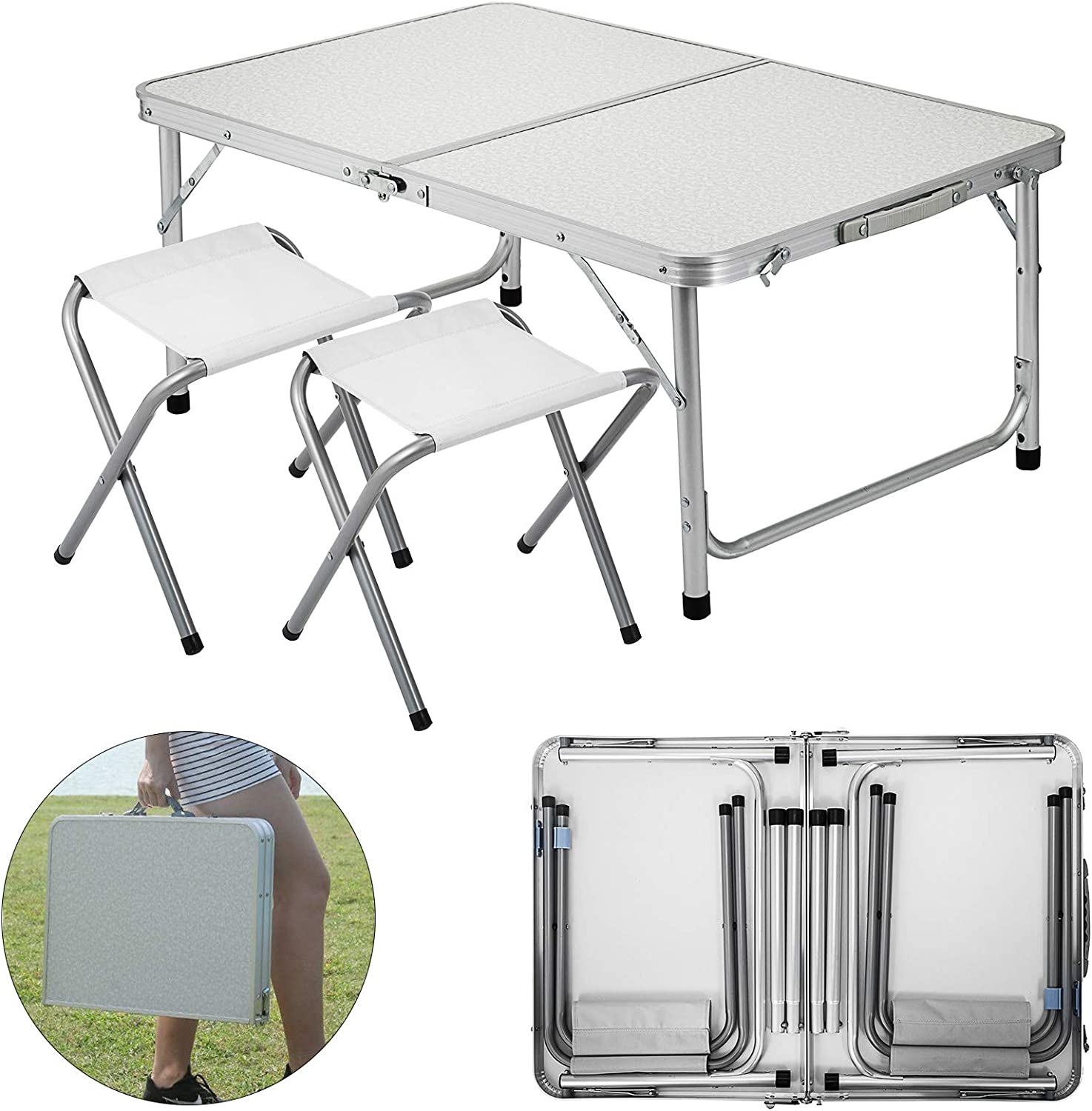 Folding Camping Table And Chair Set 4 Person Portable Family Outdoor Picnic Desk
