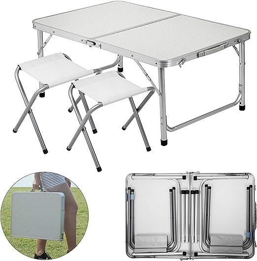 Folding Outdoor Garden Camping Table Aluminium Balcony Picnic Hiking Table White