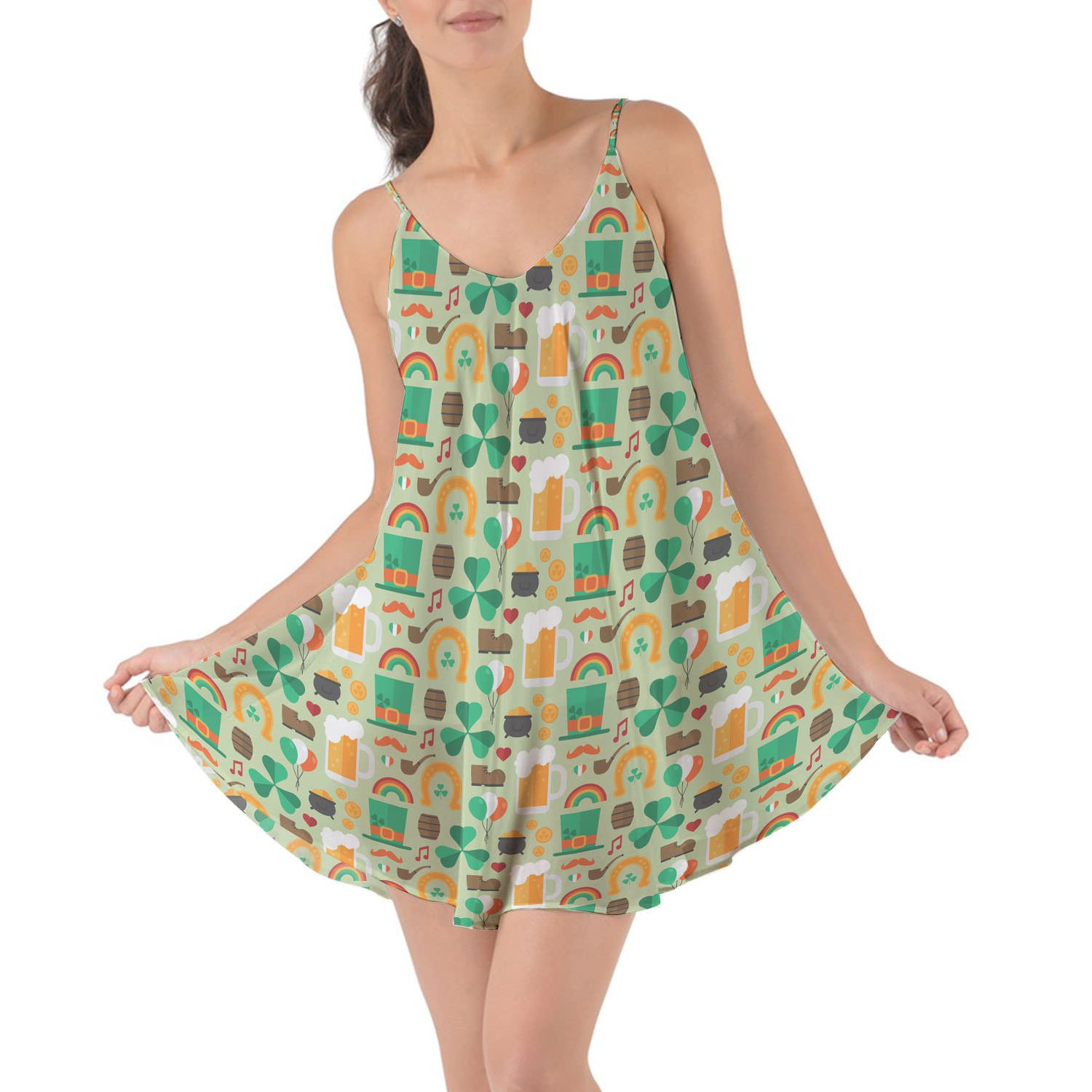 Queen of Cases Lucky ST Patricks Day Beach Cover Up Dress