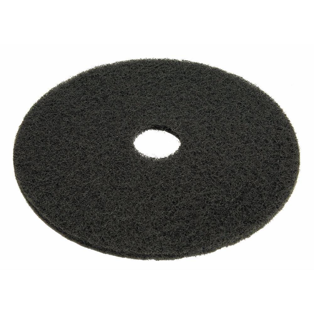 HUBERT Floor Stripping Pad Round Black - 17'' Dia 5 Per Case by Hubert