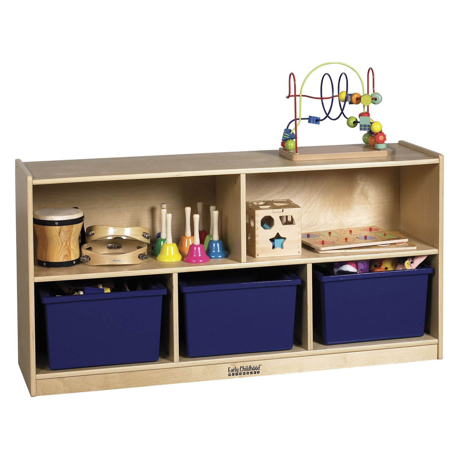 24'' Birch Storage Cabinet 5 Compartments to Hold Toys Puzzles and Storage Bins Up to 12'' Deep Heavy-duty Casters are Included for Easy Mobility by eCom Fortune