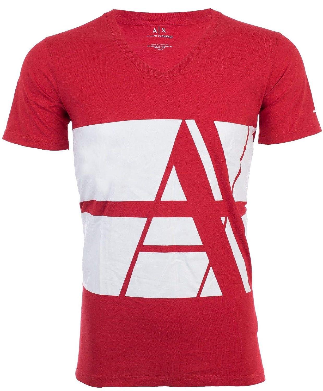 62a82e9aa45ad Armani Exchange Bold Striped Logo Men T-Shirt Premium Slim Fit RED White  Designer