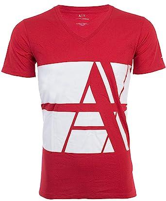 675ec08f5 Armani Exchange Bold Striped Logo Men T-Shirt Premium Slim Fit RED White  Designer (