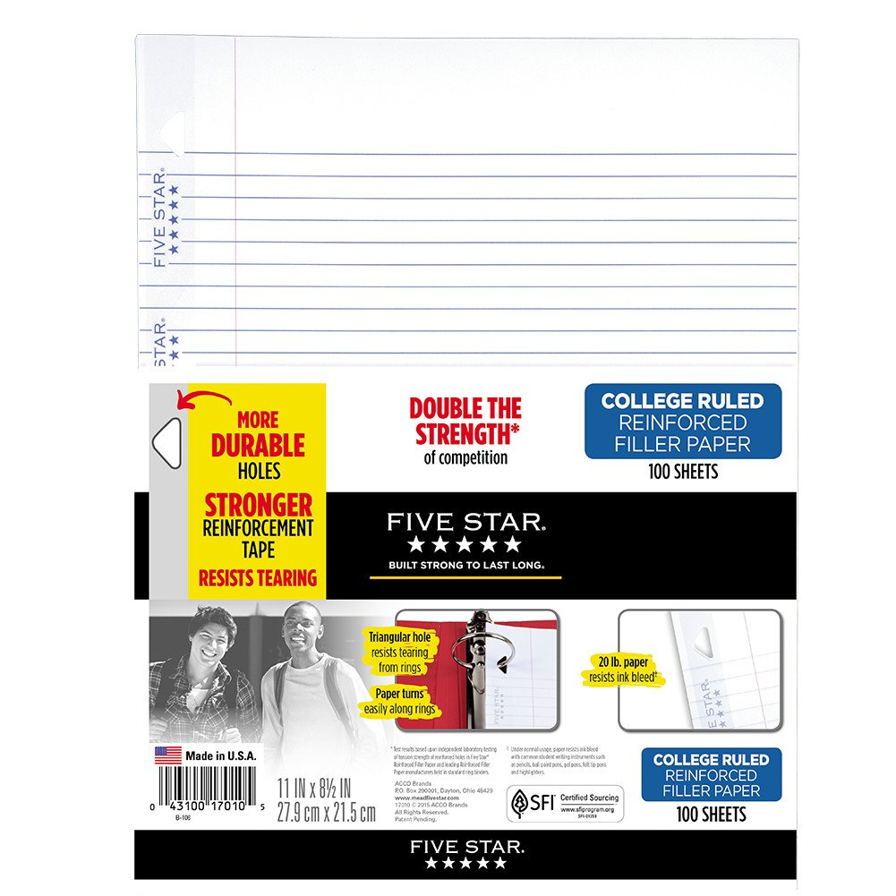 Five Star Loose Leaf Paper, 3 Hole Punched, Reinforced Filler Paper, College Ruled, 11'' x 8-1/2'', 100 Sheets/Pack, 1 Pack (17010) by Five Star (Image #1)