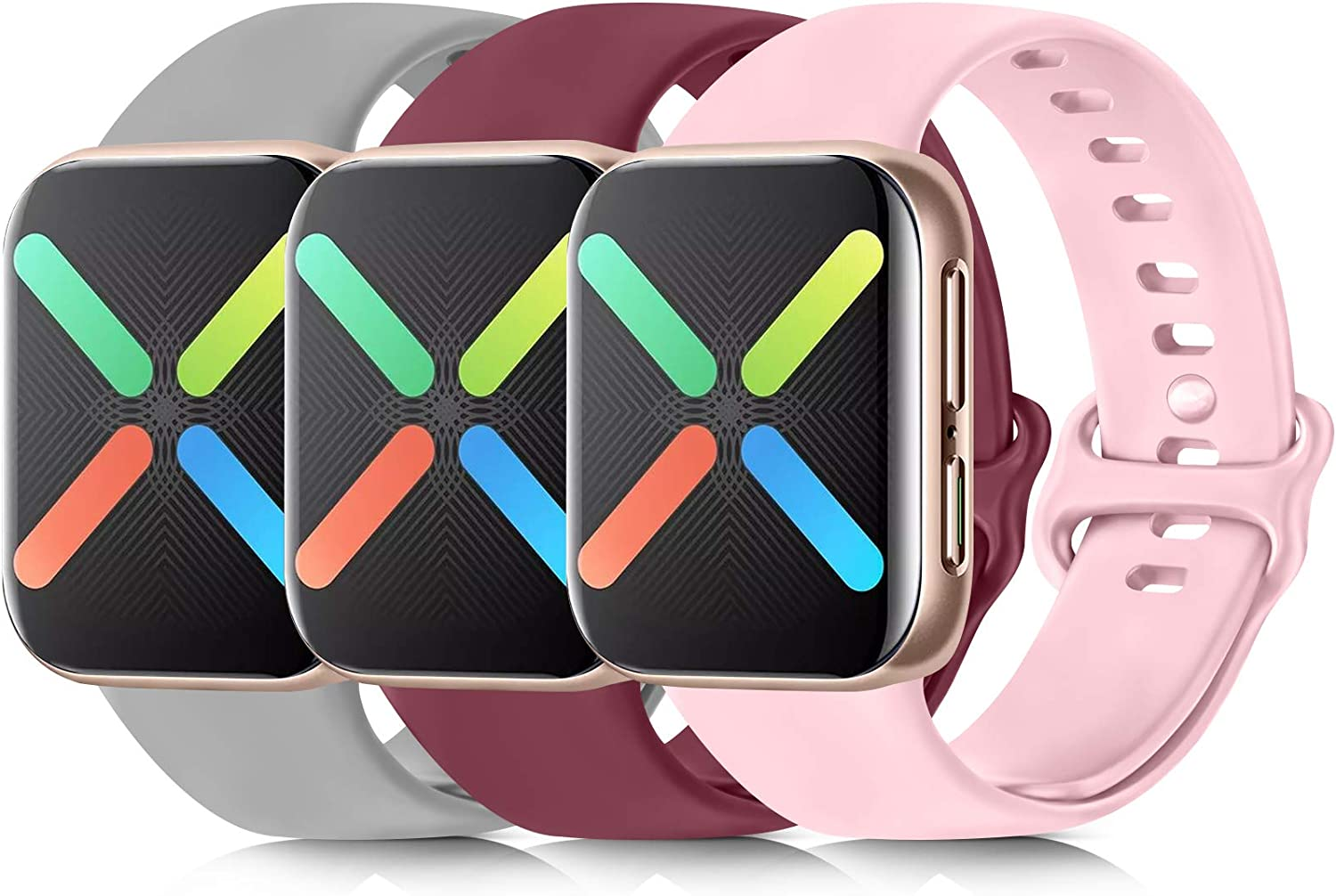 [3 Pack] Silicone Bands Compatible with Apple Watch Bands 38mm 40mm 42mm 44mm, Soft Wristbands Compatible with iWatch Bands (Wine Red/Gray/Pink, 38mm/40mm-S/M)