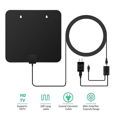 Antena de TV, efind HDTV Antena de interior Digital Rango de 60 Millas con amplificador