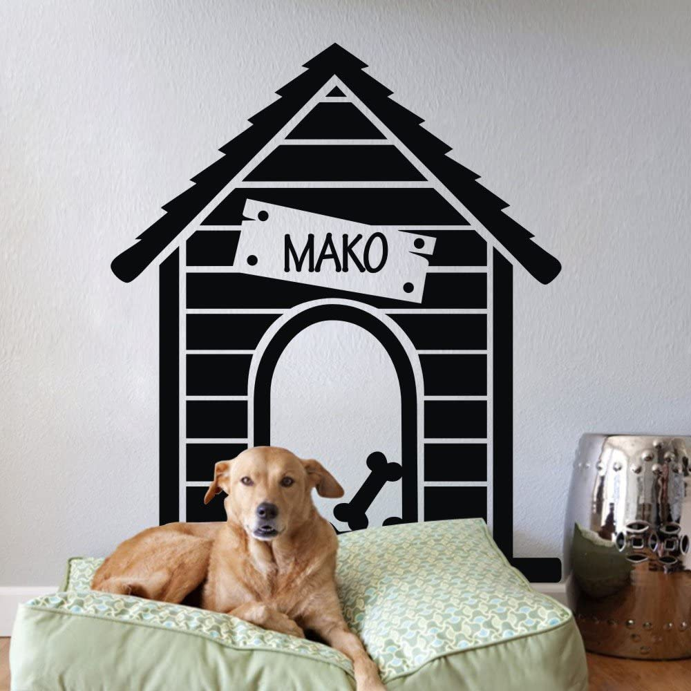 Vinyl Dog House Wall Decal Personalized Name Wall Sticker Dog Name Quote Pet Wall Decal Wall Graphic Wall Mural Home Art Decor Black