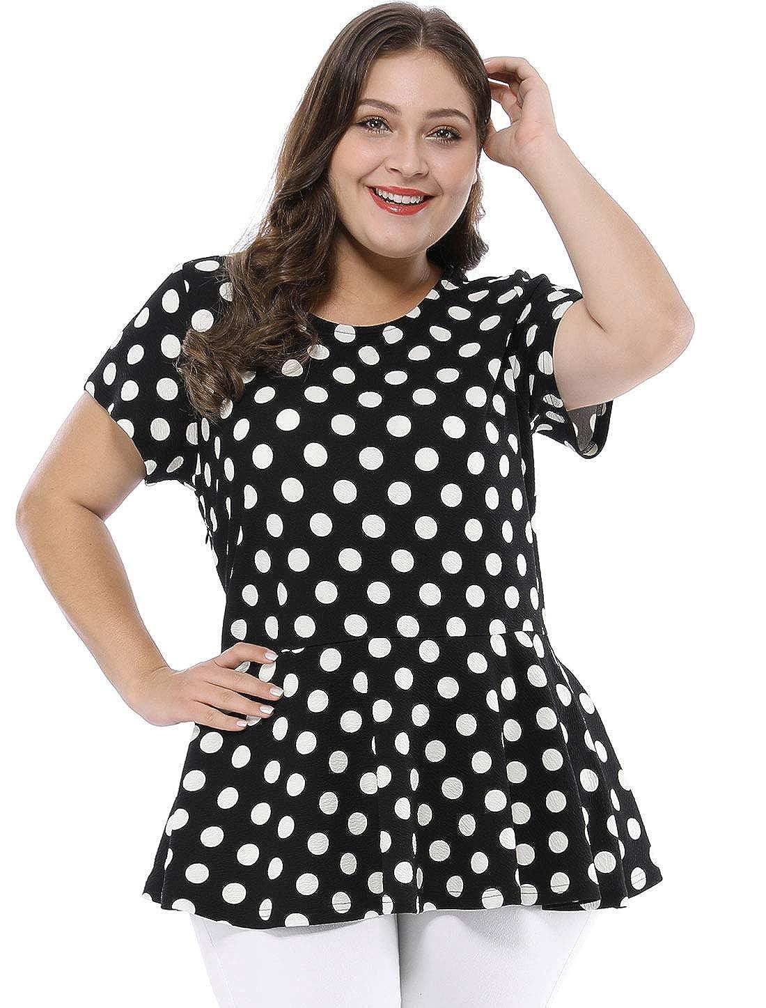 5864f584 Agnes Orinda Women's Plus Size Polka Dot Short Sleeve Summer Peplum Top at  Amazon Women's Clothing store: