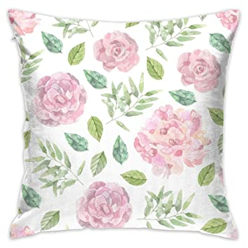 Amazon.com: Pink-Roses 16\'\'x 16\'\' Square Throw Pillow ...