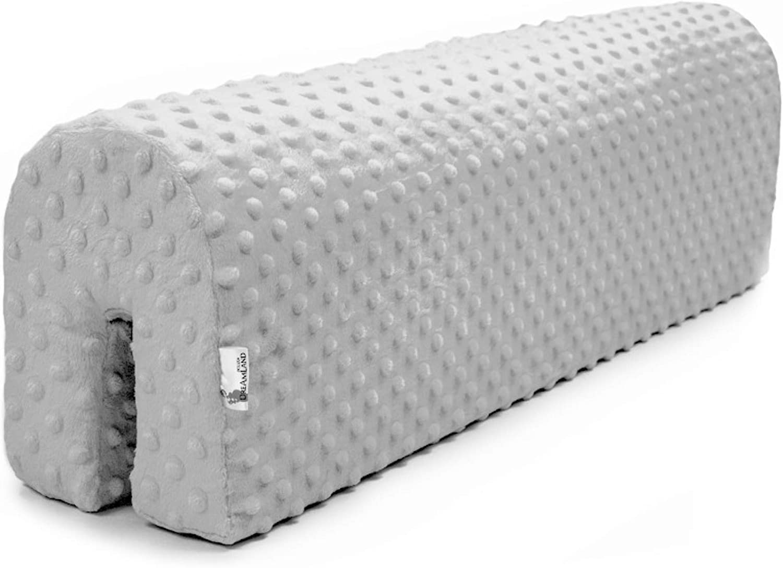 protector cuna barrera cama - protector cama anticaida, infantil protector pared cama niños (gris claro, 90 cm)