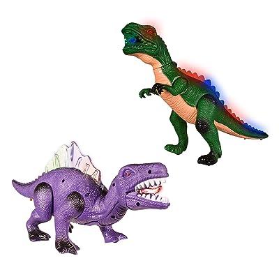 Windy City Novelties Holiday Dinosaur Bundle | Light-up Walking Dinosaur & Light-up Walking T-Rex for Kids.: Toys & Games