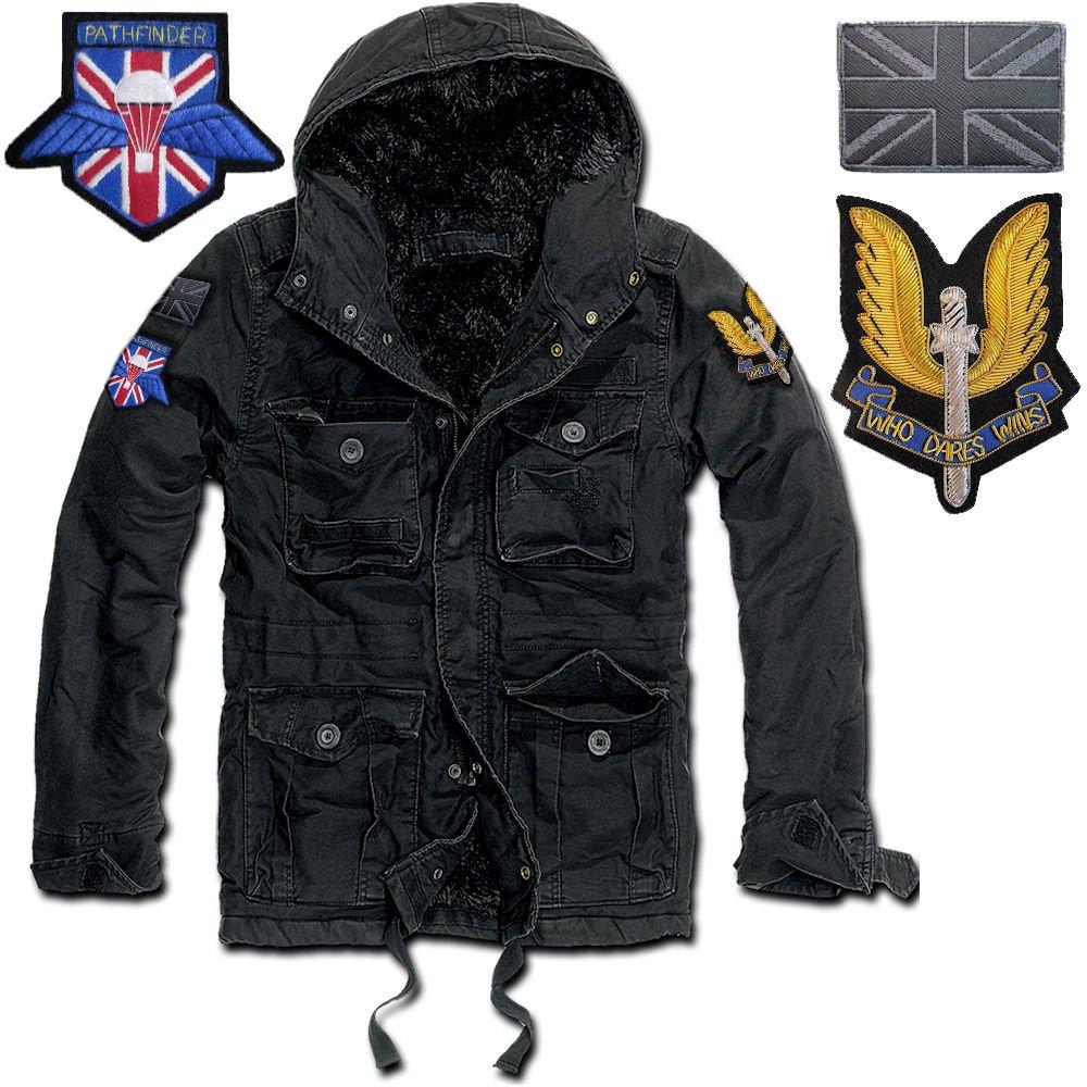 GEN.CON... parka militare inglese forze speciali SAS, giubbotto modello corto nero