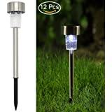 Twinkle Star 12 Pcs Solar Pathway Lights Stainless Steel Solar Garden Lights Solar Landscape Lights for Lawn, Patio, Yard, Walkway