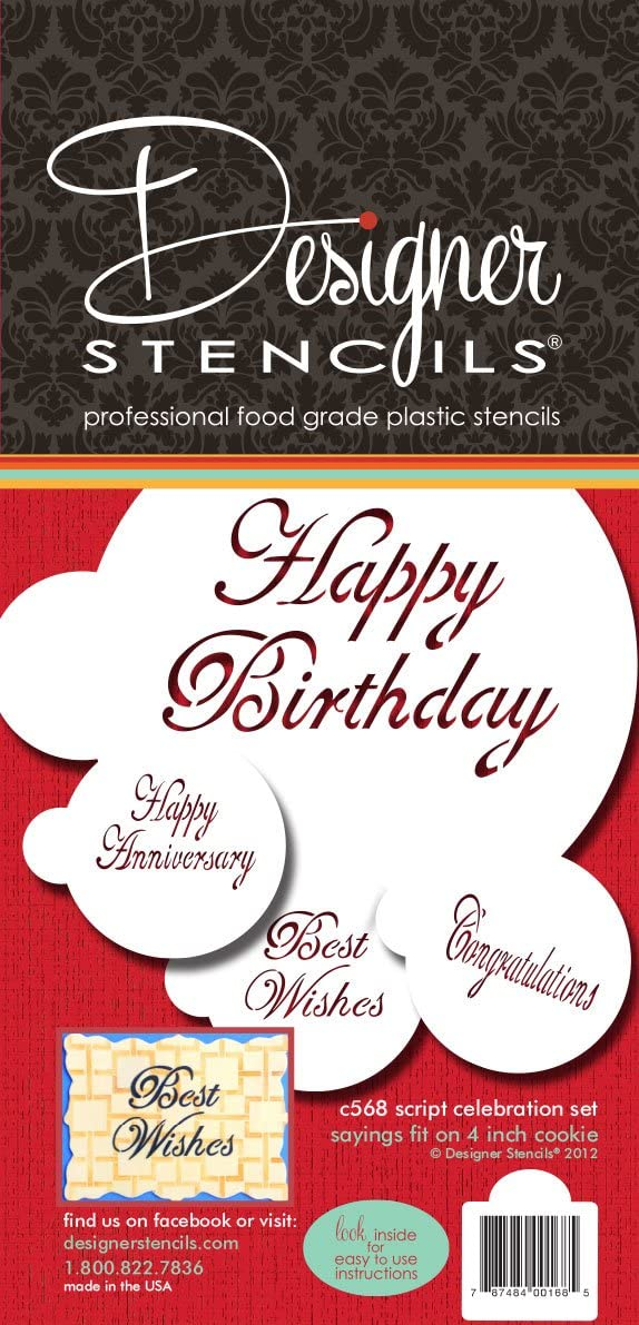Designer Stencils Script Celebration Cake Stencils Set, Beige/Semi-Transparent