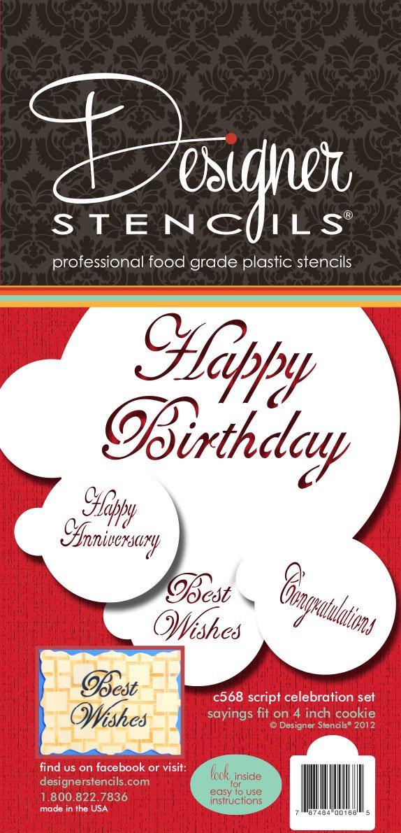 Designer Stencils C568 Script Celebration Cake Stencils Set (Happy Birthday - Best Wishes - Happy Anniversary - Congratulations)