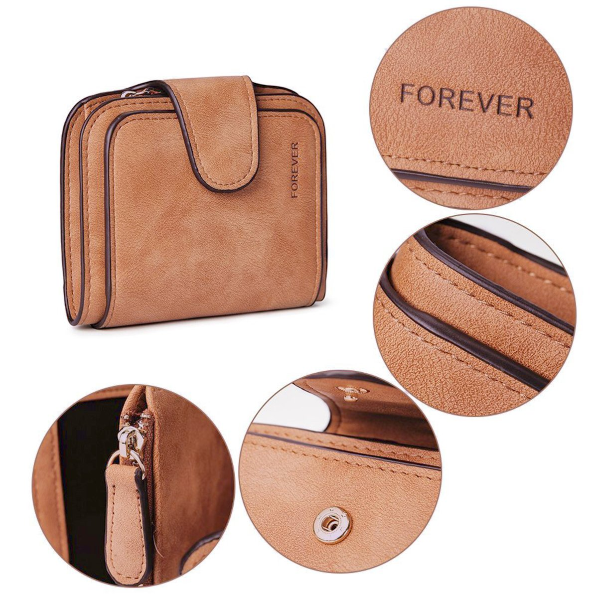 Wallet for Women Leather Clutch Short Purse Ladies Credit Card Holder Organizer with Zip Pocket - Brown by EUGO (Image #3)