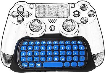 Welltop - Mini teclado inalámbrico para mando de videojuegos, de 2,4G, juega en línea, para Sony Playstation 4 PS4 - Color negro y azul