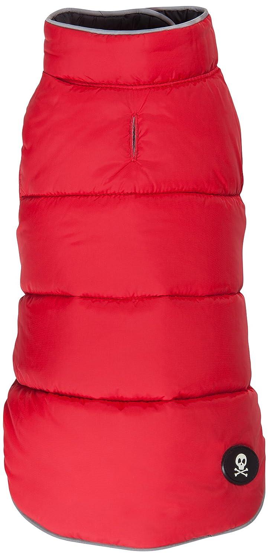 Fab Dog Reversible Puffer Vest Dog Jacket, Red Black, 18-Inch Length