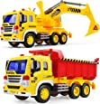 Gizmovine 2 PCs Dump Truck Toy Friction Power with Lights and Sounds, Excavator Tow Toy Truck Pull Back Construction Toys Tractor Vehicles for Toddlers Boys 4, 3, 2 Year Old, 1:16 Scale