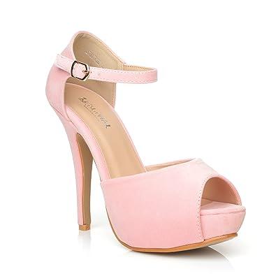 49bdfadd540 London Baby Pink Faux Suede Ankle Strap Platform Peep Toe High Heels ...