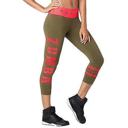 Amazon.com: Zumba Womens Wide Waistband Print Capri Legging ...