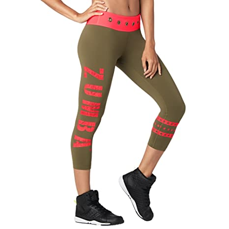 c140226d13f021 Zumba Women's Wide Waistband Print Capri Legging with Compression, Army  Green, X-Small