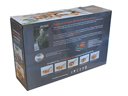 Kit de sartenes de cobre con revestimiento de cerámica antiadherente: Amazon.es: Hogar