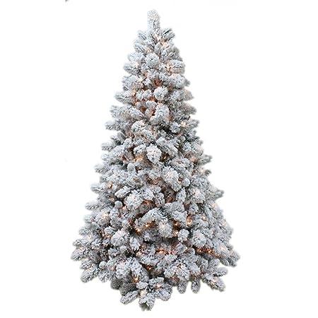 8ft Prelit Snow Flocked Spruce Full Christmas Tree Warm White Leds