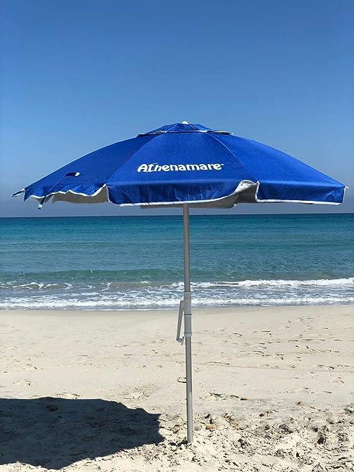 Sombrilla de playa resistente al viento, con estaca de hélice para clavar en la arena y manivela: Amazon.es: Deportes y aire libre
