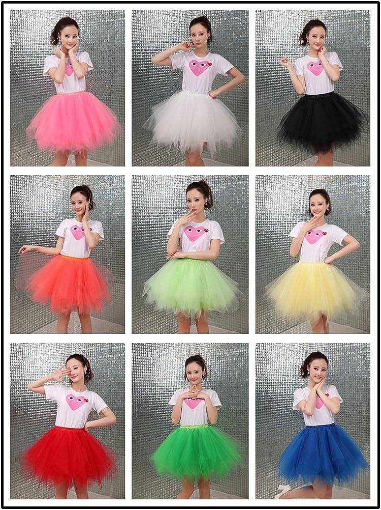 "L-Peach 1950s Vintage Short Tulle Petticoat Skirt Ballet Bubble Tutu for Women and Girls up 9 Waist:55-90cm/21.7-35.4"" Fluorescent Green"