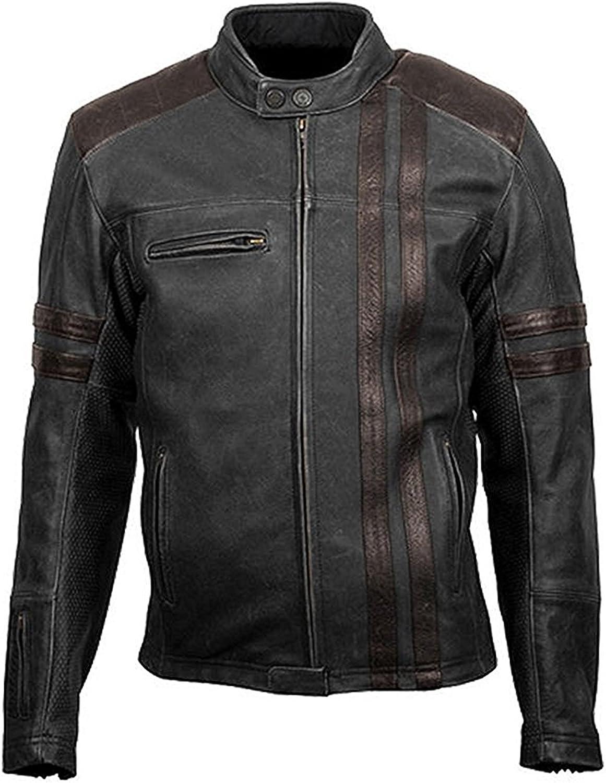 Mens Cafe Racer Retro Scorpion Jacket Classic Black Biker Stripe Leather Jacket