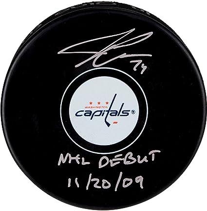 31fa1a2d3f187 John Carlson Washington Capitals Autographed Hockey Puck with NHL Debut  11 20 09 Inscription