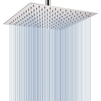 shower Stainless Steel High Pressure Shower Head 16 Inch Large Square Rain Showerhead Home & Garden