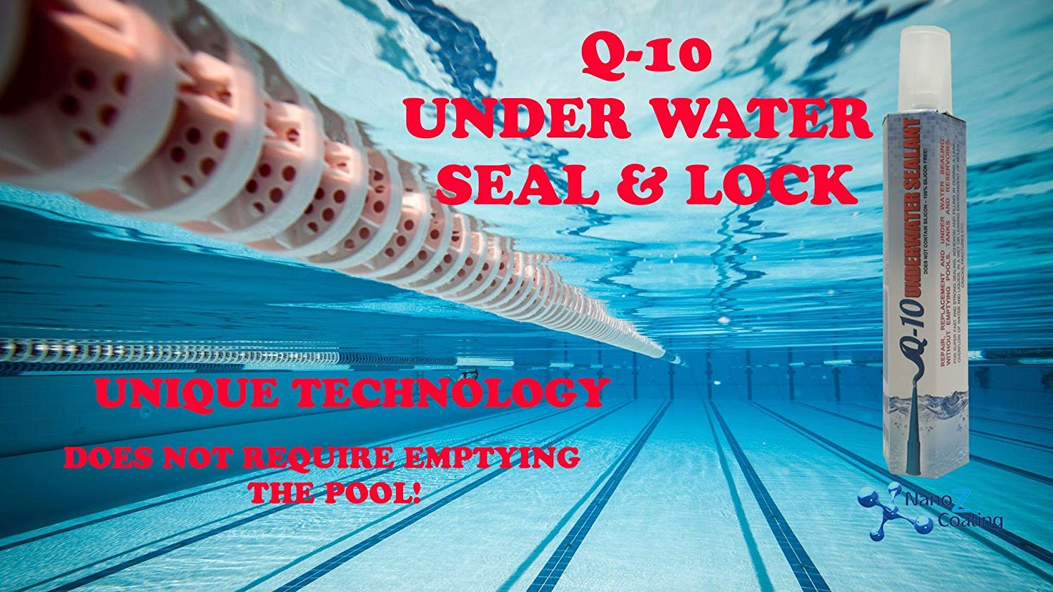 Nano Tech Q-10 Underwater Seal & Lock - Does Not Require Emptying The Pool,  Reservoir or Tank  Leak Sealant Repair and Adhesive to Fix Cracks and Stop