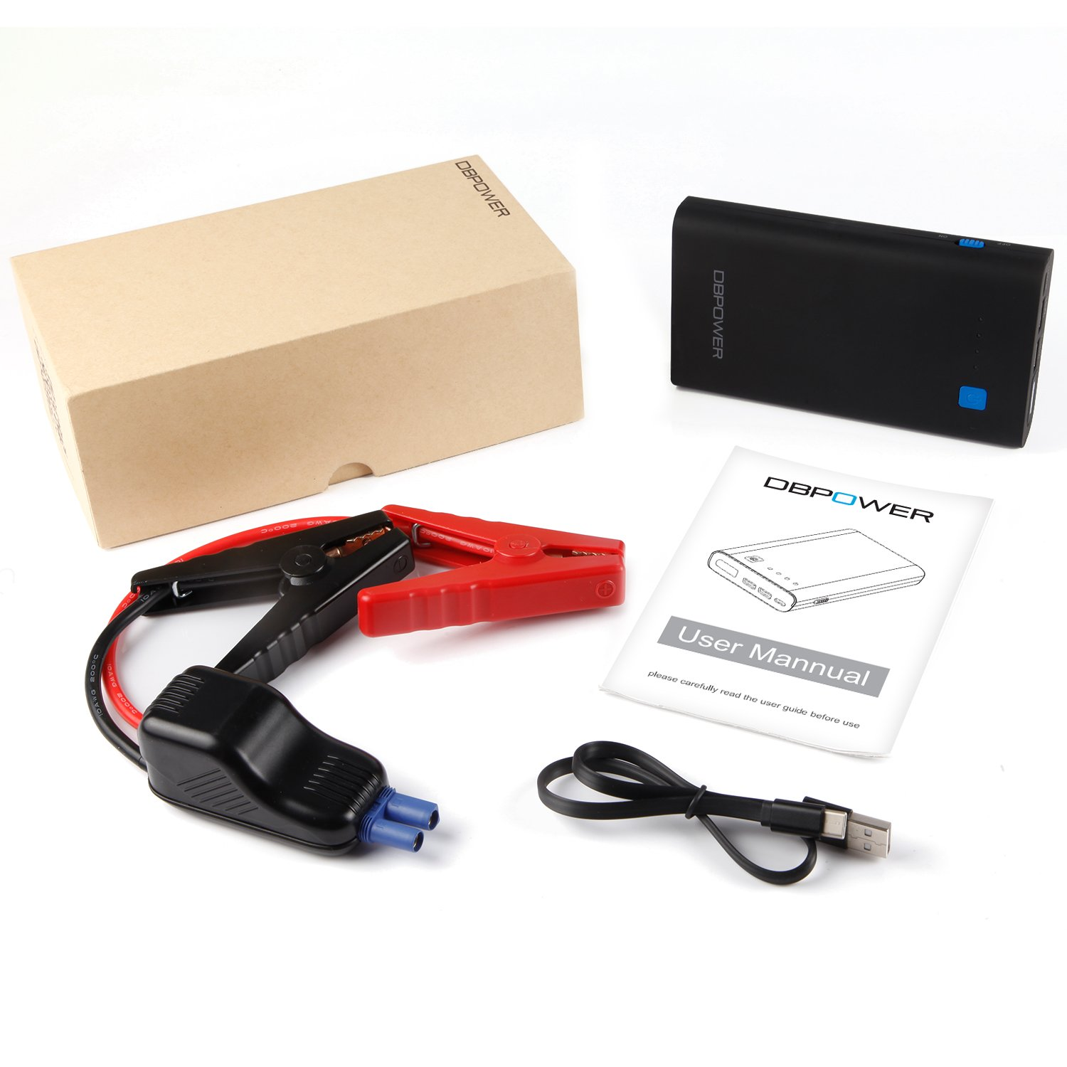 Auto Battery Booster DBPOWER 500A 10800mAh Portable Car Jump Starter up to 3.0L Gas// 2.0L Diesel Engine Portable Phone Charger with QC3.0 LED Flashlight with 3 Modes Type-C Output