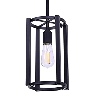Vergamo Pendant Light Black Hanging Light Fixture with LED Bulb LL-P268-5BLK