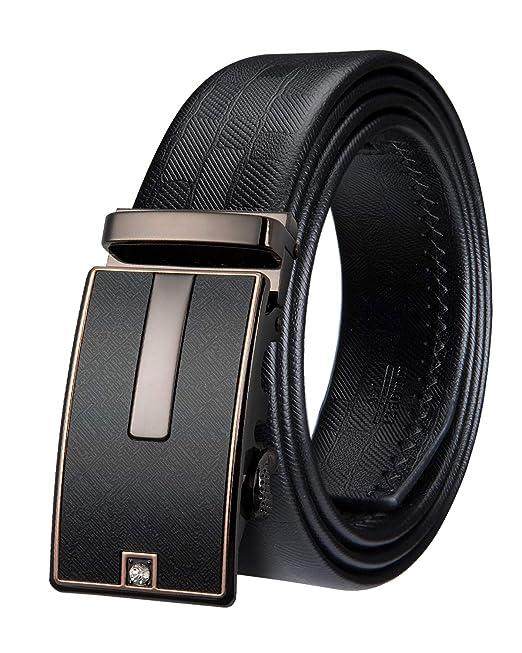 Mens Leather Belt Automatic Buckle Business Suit Trouser Formal Belt Buckles JL