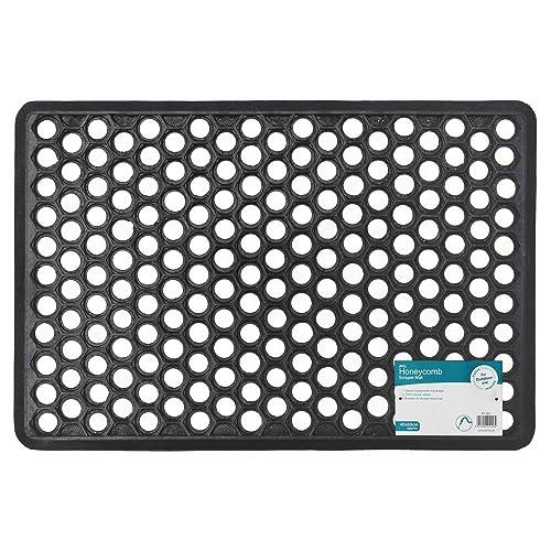 JVL Outdoor Honeycomb Rubber Ring Entrance Floor Door Mat, Plastic, Black, 40 x 60 cm