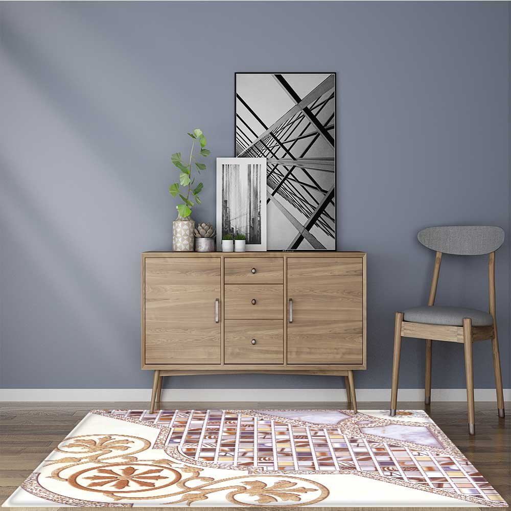 Machine-Washable Large Bathroom Mat tiles abstract background ceramic surface object industry ceramic floor and wall Weather-Proof and Mold 22''x60''