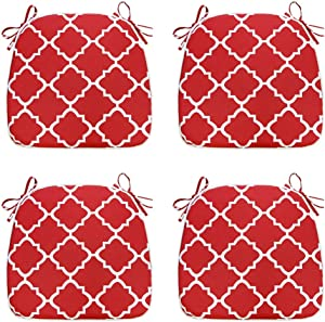 IN4 Care Set of 4 Indoor Outdoor Seat Cushions, All Weather Patio Chair Pads U-Shape 16x17 Inch, Office Patio Furniture Chairs Home Garden Use (Geometry Red)