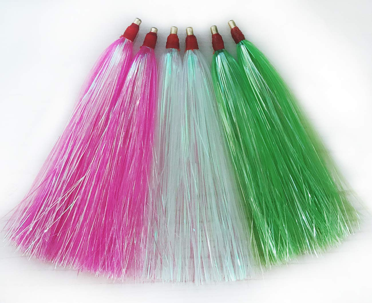JSHANMEI Fishing Lure Flash Teaser Tail Bucktail Teaser Fishing Bait Rigs (Three Colors Mixed - 18pcs) by JSHANMEI