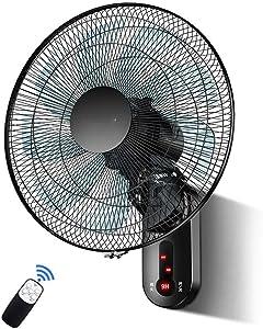 HJWL Ventilador de Pared, Wall Fan 17 Pulgadas con Control Remoto del Temporizador 9 velocidades montado en la Pared Ventilador Industrial, hogar, Ventilador del Dormitorio 60W