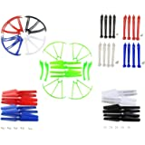 DerBlue Upgraded 5 Colors Syma X5SC X5SW Spare Parts Main Blade & Propeller Protectors Blades Frame & Landing Skid & Mounting Screws Spare Part for RC Mini Quadcopter Toy