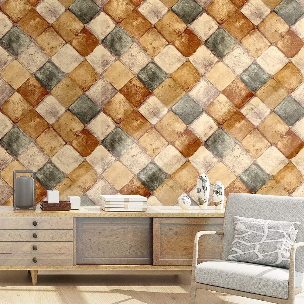HaokHome 18032-6M Brick Wallpaper Peel and Stick Wallpaper FireBrick//Crimson//White Self Adhesive Contact Paper